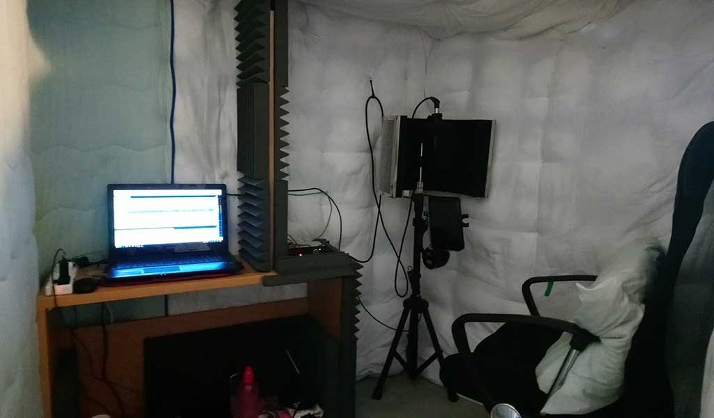Voice actor Mike's homemade home studio acoustic treatment