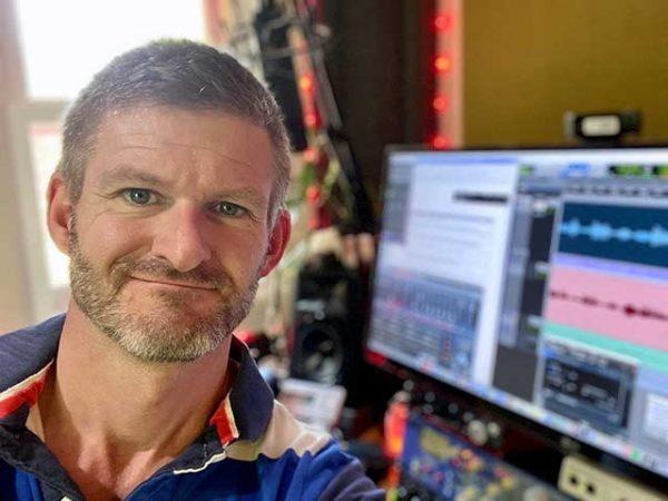 Voice Actor Mike Cooper in his home recording studio.
