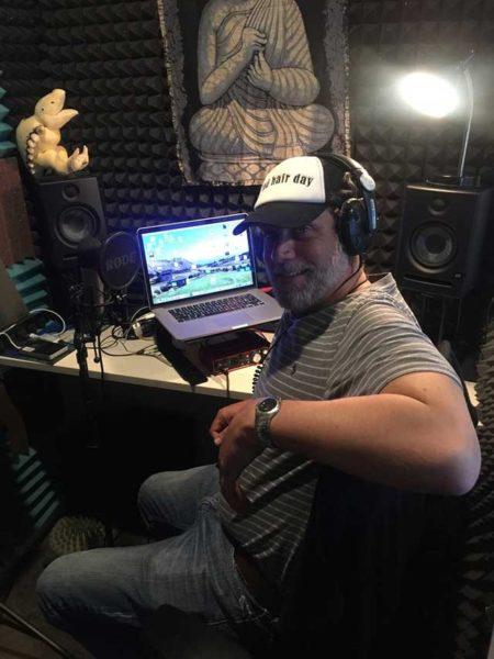 Jay Simon in his home recording studio.