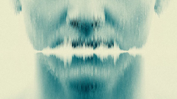 Image of a man with digital voice waveform covering his mouth.