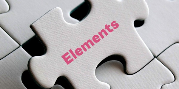 Jigsaw piece with the word Elements on it
