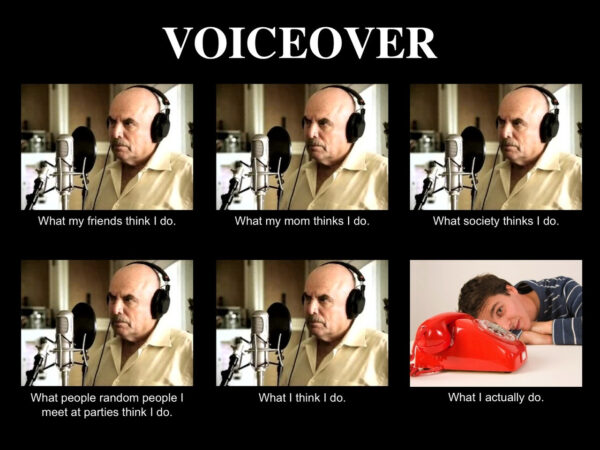 voiceover jokes meme with image of voice actor behind microphone