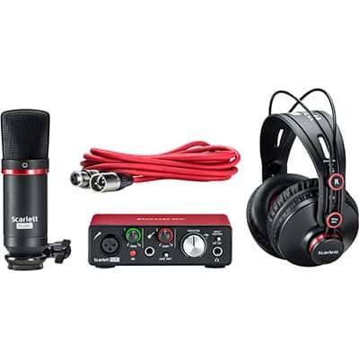 Audio Equipment - Condensor mic, headphones, XLR cable and audio interface