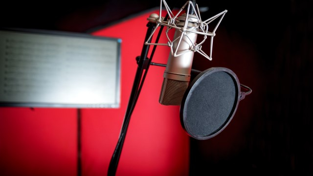 voice-over booth with microphone, stand and pop shield