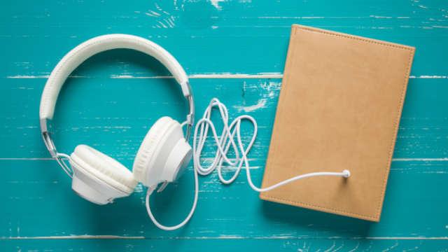 Audiobook - headphones and book